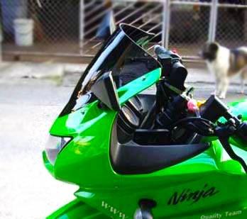 Aftermarket Kawasaki Ninja 250R Tinted Double Bubble Windshield